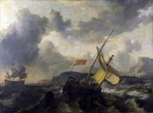 212/backhuysen, ludolf - an english vessel and a man-of-war in a rough sea
