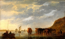 212/cuyp, aelbert - a herdsman with five cows by a river