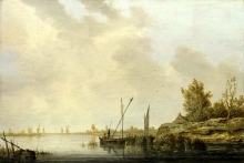 212/cuyp, aelbert - a river scene with distant windmills