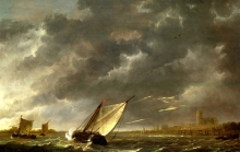212/cuyp, aelbert - the maas at dordrecht in a storm