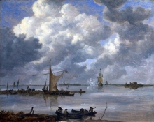 212/goyen, jan van - an estuary with fishing boats and two frigates