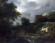 212/ruisdael, jacob isaackszon van - a bleaching ground in a hollow by a cottage