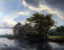 212/ruisdael, jacob isaackszon van - a cottage and a hayrick by a river