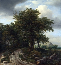 212/ruisdael, jacob isaackszon van - a road winding between trees towards a distant cottage