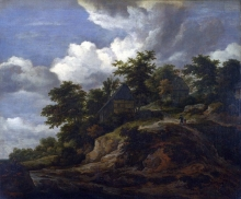212/ruisdael, jacob isaackszon van - a rocky hill with three cottages, a stream at its foot