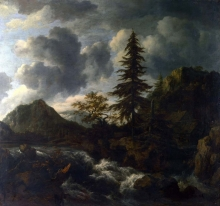 212/ruisdael, jacob isaackszon van - a torrent in a mountainous landscape
