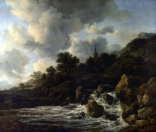 212/ruisdael, jacob isaackszon van - a waterfall at the foot of a hill, near a village
