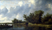212/ruisdael, salomon van - a river landscape with fishermen