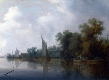 212/ruisdael, salomon van - a river with fishermen drawing a net