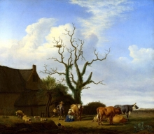 212/velde, adriaen van de - a farm with a dead tree