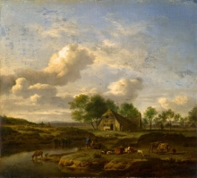 212/velde, adriaen van de - a landscape with a farm by a stream