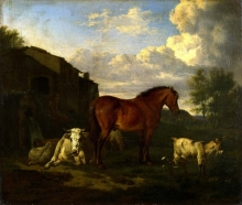 212/velde, adriaen van de - animals near a building