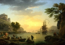 212/vernet, claude-joseph - a landscape at sunset
