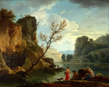 212/vernet, claude-joseph - a river with fishermen
