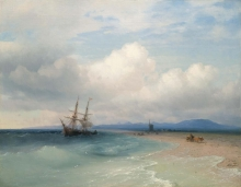213/, иван константинович 04_02_018_shipping along the crimean coast 15 july 1872 72 by 92.5cm