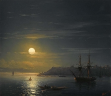 213/, иван константинович view of constantinople in moonlight 24.5 by 27.5cm