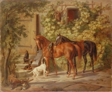 hermitage/adam, albrecht - horses at the porch