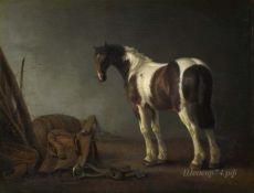 londongallery/abraham van calraet - a horse with a saddle beside it