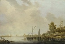 londongallery/aelbert cuyp - a river scene with distant windmills
