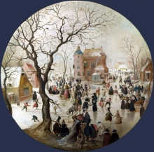 212/avercamp, hendrick - a winter scene with skaters near a castle