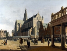 212/berckheyde, gerrit adriaensz - the market place and the grote kerk at haarlem