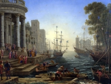 212/claude lorrain - port scene with the embarkation of st ursula