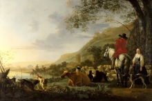 212/cuyp, aelbert - a hilly landscape with figures