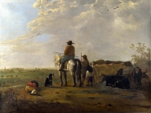 212/cuyp, aelbert - a landscape with horseman, herders and cattle
