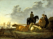 212/cuyp, aelbert - peasants with four cows by the river merwede