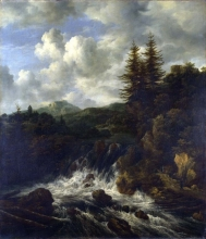212/ruisdael, jacob isaackszon van - a landscape with a waterfall and a castle on a hill