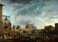212/vernet, claude-joseph - a sporting contest on the tiber at rome