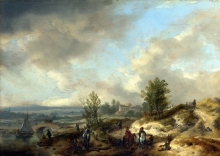212/wouwerman, philips - a dune landscape with a river and many figures