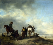 212/wouwerman, philips - seashore with fishwives offering fish