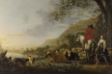 londongallery/aelbert cuyp - a hilly landscape with figures
