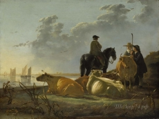 londongallery/aelbert cuyp - peasants and cattle by the river merwede