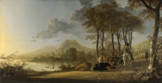 londongallery/aelbert cuyp - river landscape with horseman and peasants
